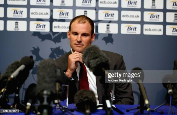 Andrew Strauss of England looks glum as he announces his retirement from professional cricket during an England Cricket Media Press Conference at...