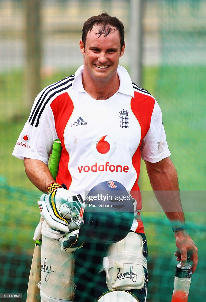 <a gi-track='captionPersonalityLinkClicked' href=/galleries/search?phrase=Andrew+Strauss&family=editorial&specificpeople=157548 ng-click='$event.stopPropagation()'>Andrew Strauss</a> of England smiles during an England Nets Session ahead of England's first tour match against South Africa Airways XI on December 8, 2009 in East London, South Africa.