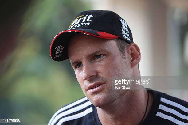 Andrew Strauss of England talks to the press at the Taj Samudra Hotel on March 14 2012 in Colombo Sri Lanka