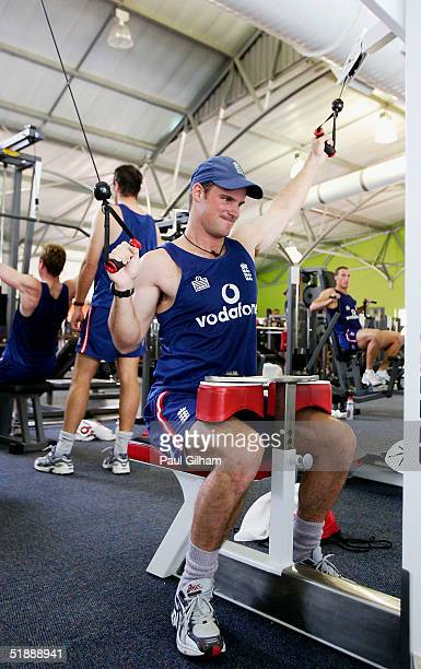 Andrew Strauss of England works out at the gym near the Beverley Hills Umhlanga Rocks team hotel ahead of the second test match between South Africa...