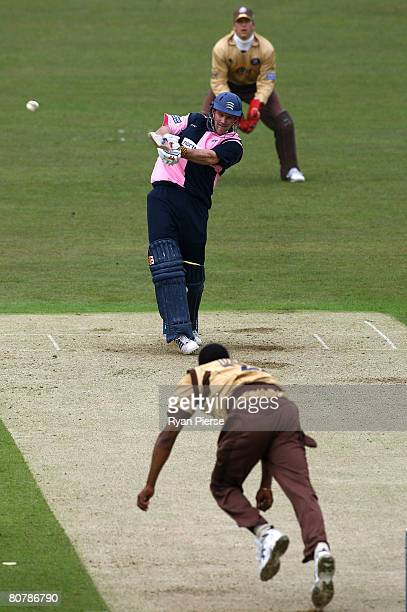 Andrew Strauss of Middlesex plays a hook shot during Friends Provident Trophy match between Surrey and Middlesex at The Brit Oval on April 20 2008 in...
