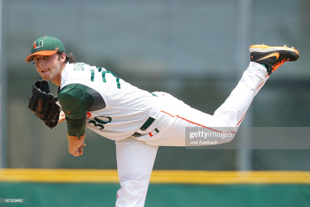 Andrew Suarez #30 of the Miami Hurricanes throws the ball against the Clemson Tigers on April 21, 2013 at Alex Rodriguez Park at Mark Light Field in Coral Gables, Florida. Miami defeated Clemson 7-0.