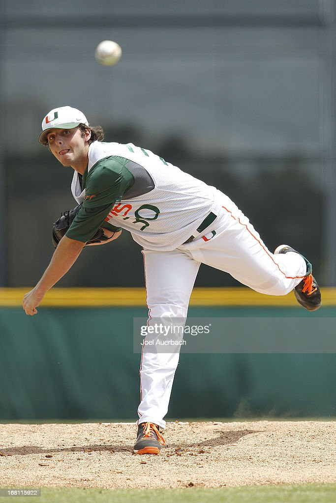 Andrew Suarez #30 of the Miami Hurricanes throws the ball against the St John's Red Storm on May 5, 2013 at Alex Rodriguez Park at Mark Light Field in Coral Gables, Florida. Miami defeated St John's 6-4 and swept the weekend series.