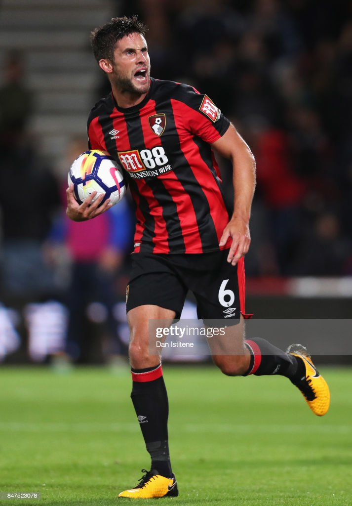 Andrew Surman of AFC Bournemouth celebrates as he scores their first goal during the Premier League match between AFC Bournemouth and Brighton and Hove Albion at Vitality Stadium on September 15, 2017 in Bournemouth, England.