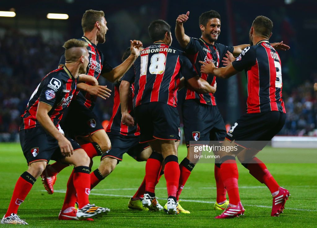 Andrew Surman of AFC Bournemouth celebrates with his team scoring the opening goal during the Sky Bet Championship match between AFC Bournemouth and Leeds United at Goldsands Stadium on September 16, 2014 in Bournemouth, England.