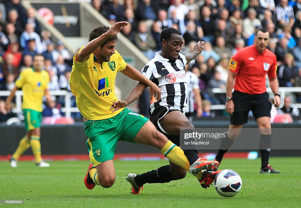 Andrew Surman (L) of Norwich City competes with Vurnon Anita of Newcastle United during the Barclays Premier League match between Newcastle United and Norwich City on September 23, 2012 in Newcastle, England.