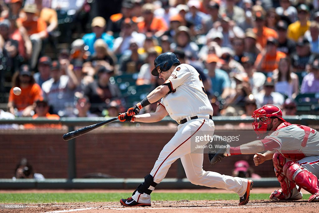 Andrew Susac #34 of the San Francisco Giants hits a three run home run against the Philadelphia Phillies during the fourth inning at AT&T Park on July 12, 2015 in San Francisco, California. The San Francisco Giants defeated the Philadelphia Phillies 4-2.