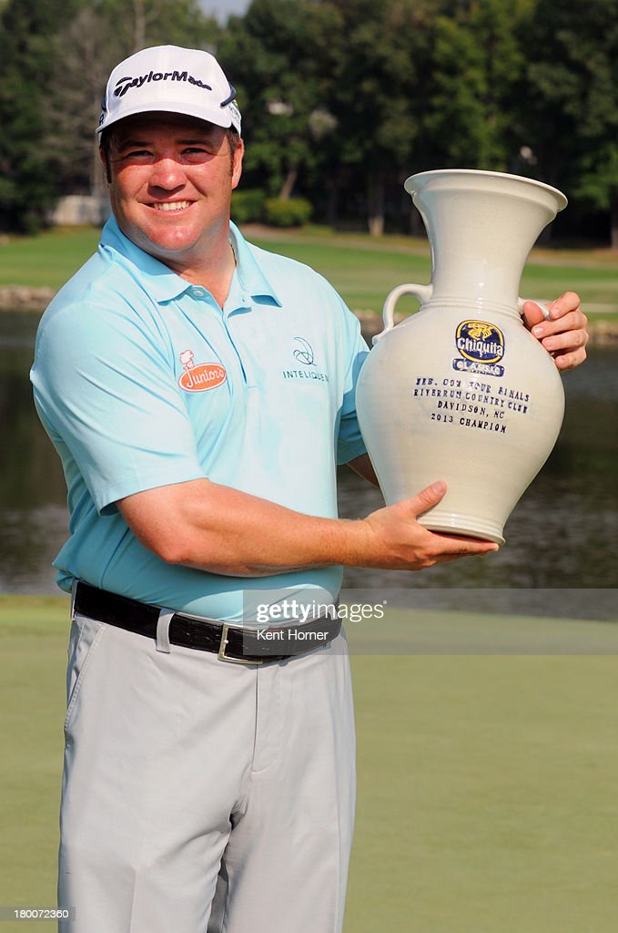 <a gi-track='captionPersonalityLinkClicked' href=/galleries/search?phrase=Andrew+Svoboda&family=editorial&specificpeople=569577 ng-click='$event.stopPropagation()'>Andrew Svoboda</a> holds the tournament's champion trophy after winning on the first play-off hole during the final round of the Chiquita Classic in the Web.com tour finals at River Run Country Club on September 8, 2013 in Davidson, North Carolina.