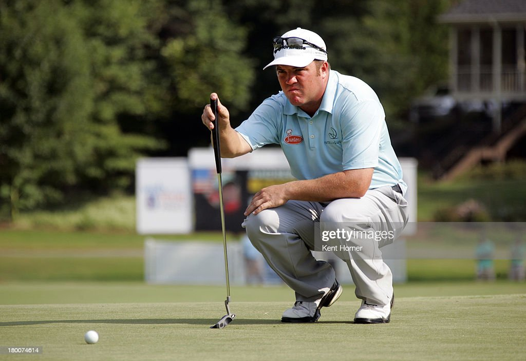 <a gi-track='captionPersonalityLinkClicked' href=/galleries/search?phrase=Andrew+Svoboda&family=editorial&specificpeople=569577 ng-click='$event.stopPropagation()'>Andrew Svoboda</a> lines up his putt on the 18th green during the play-off hole in final round of the Chiquita Classic in the Web.com tour finals at River Run Country Club on September 8, 2013 in Davidson, North Carolina.