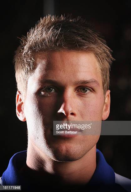 Andrew Swallow of the North Melbourne Kangaroos speaks to the media during the 2012 AFL Finals Series Launch at the Melbourne Fox Sports Offices on...