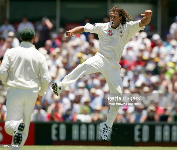 Andrew Symonds of Australia celebrates the wicket of England captain Andrew Flintoff on day two of the 3rd Test match between Australia and England...