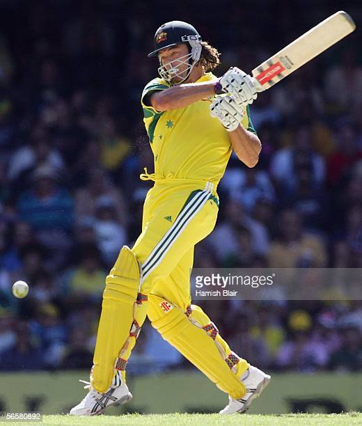 Andrew Symonds of Australia hits out during Game 1 of the VB Series between Australia and Sri Lanka played at the Telstra Dome on January 13 2006 in...
