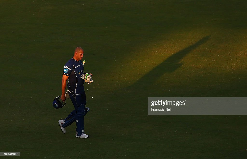 <a gi-track='captionPersonalityLinkClicked' href=/galleries/search?phrase=Andrew+Symonds&family=editorial&specificpeople=178235 ng-click='$event.stopPropagation()'>Andrew Symonds</a> of Capricorn leaves the field during the Oxigen Masters Champions League match between Virgo Super Kings and Capricorn Commanders on February 7, 2016 in Sharjah, United Arab Emirates.