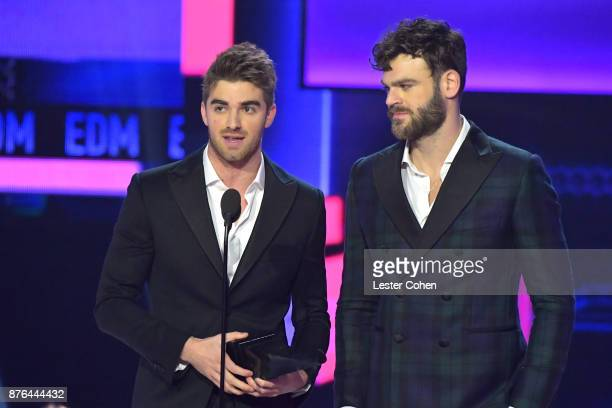 Andrew Taggart and Alex Pall of The Chainsmokers accept award onstage during the 2017 American Music Awards at Microsoft Theater on November 19 2017...