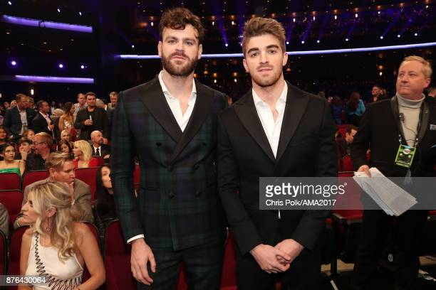 Andrew Taggart and Alex Pall of The Chainsmokers during the 2017 American Music Awards at Microsoft Theater on November 19 2017 in Los Angeles...