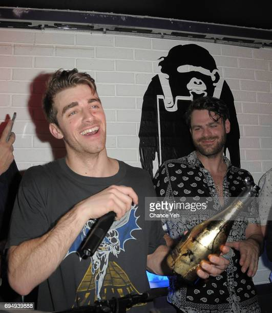 Andrew Taggart and Alex Pall of The Chainsmokers perform at Mark Birnbaum's 40th birthday celebration with a Tenjune opening on June 10 2017 in New...