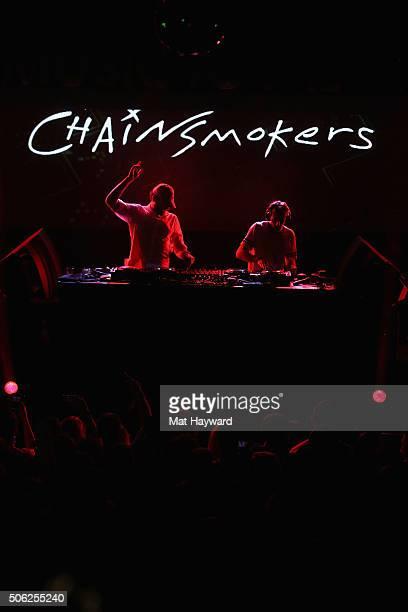 Andrew Taggart and Alex Pall of The Chainsmokers perform on stage at the Billboard Winterfest at Park City Live on January 21 2016 in Park City Utah