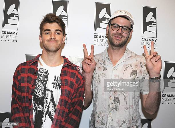 Andrew Taggart and Alex Pall of The Chainsmokers pose at The GRAMMY Museum on September 29 2016 in Los Angeles California