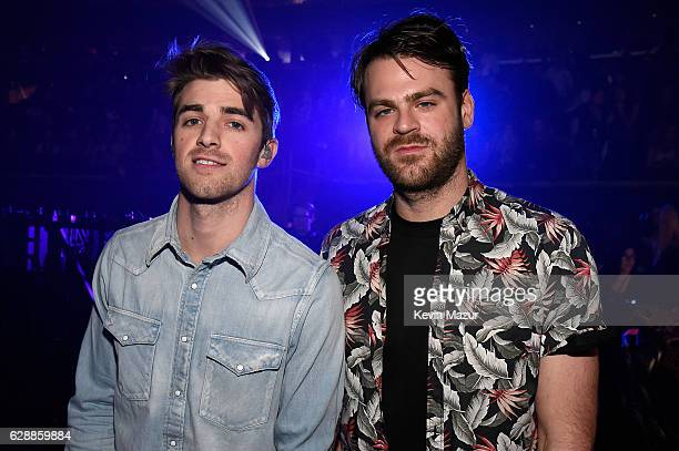 Andrew Taggart and Rhett Bixler of The Chainsmokers backstage during Z100's Jingle Ball 2016 at Madison Square Garden on December 9 2016 in New York...
