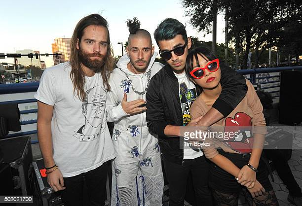 Andrew Taggart Cole Whittle Joe Jonas and JinJoo Lee of DNCE onstage during 933 FLZ's Jingle Ball 2015 Daytime Presented by Capital One at Amalie...