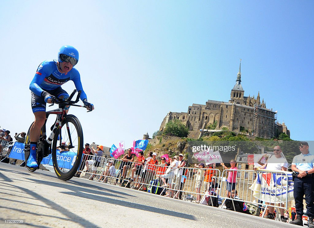 Andrew Talansky of Team Garmin-Sharp during Stage 11 of the Tour de France from Avranches to Mont-Saint-Michel on July 10, 2013 in Mont-Saint-Michel, France.