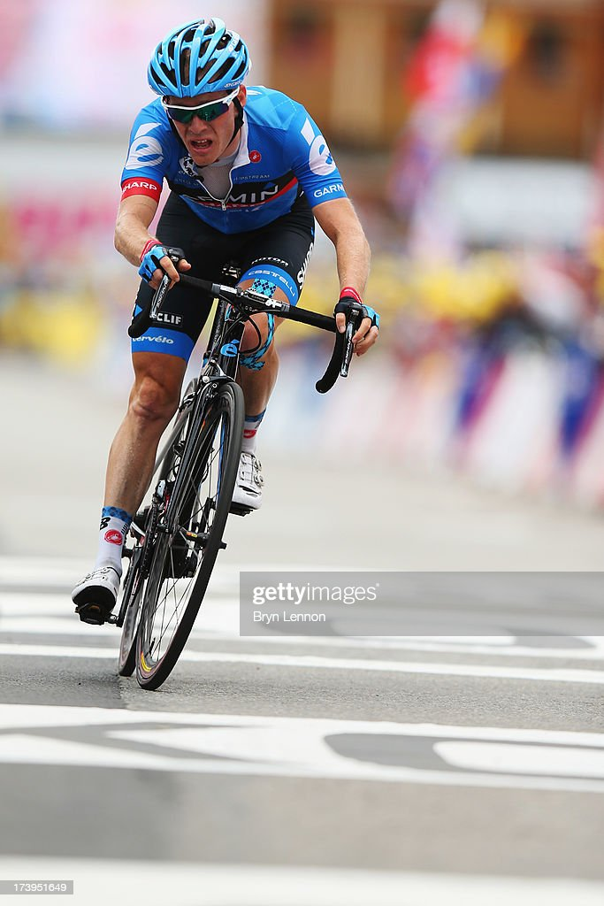 Andrew Talansky of the United States and Garmin Sharp struggles as he crosses the finish line during stage eighteen of the 2013 Tour de France, a 172.5KM road stage from Gap to l'Alpe d'Huez, on July 18, 2013 in Alpe d'Huez, France.