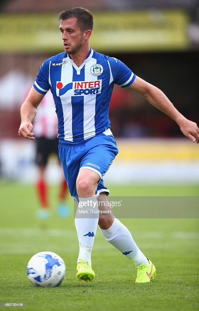 Andrew Taylor of Wigan Athletic in action during the pre season friendly between Altrincham and Wigan Athletic at the J Davidson stadium on July 14...