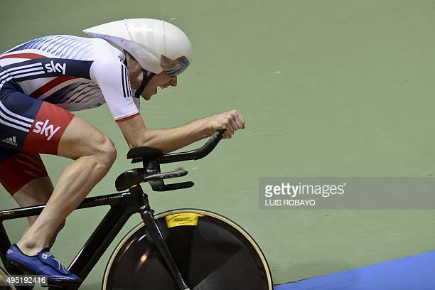 Andrew Tennant from Great Britain competes during the UCI Cycling World Cup Men's Individual Pursuit Finals at Alcides Nieto Patino velodrome on...