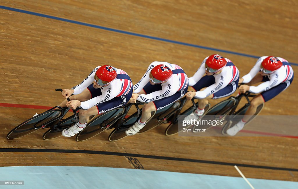 Andrew Tennant leads the Great Britain team in the final of the Men's Team Pursuit during day one of the UCI Track World Championships at the Minsk Arena on February 20, 2013 in Minsk, Belarus.