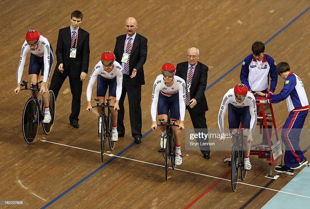 Andrew Tennant, Sam Harrison, Steven Burke and Ed Clancy of the Great Britain team ride in the final of the Men's Team Pursuit during day one of the UCI Track World Championships at the Minsk Arena on February 20, 2013 in Minsk, Belarus.
