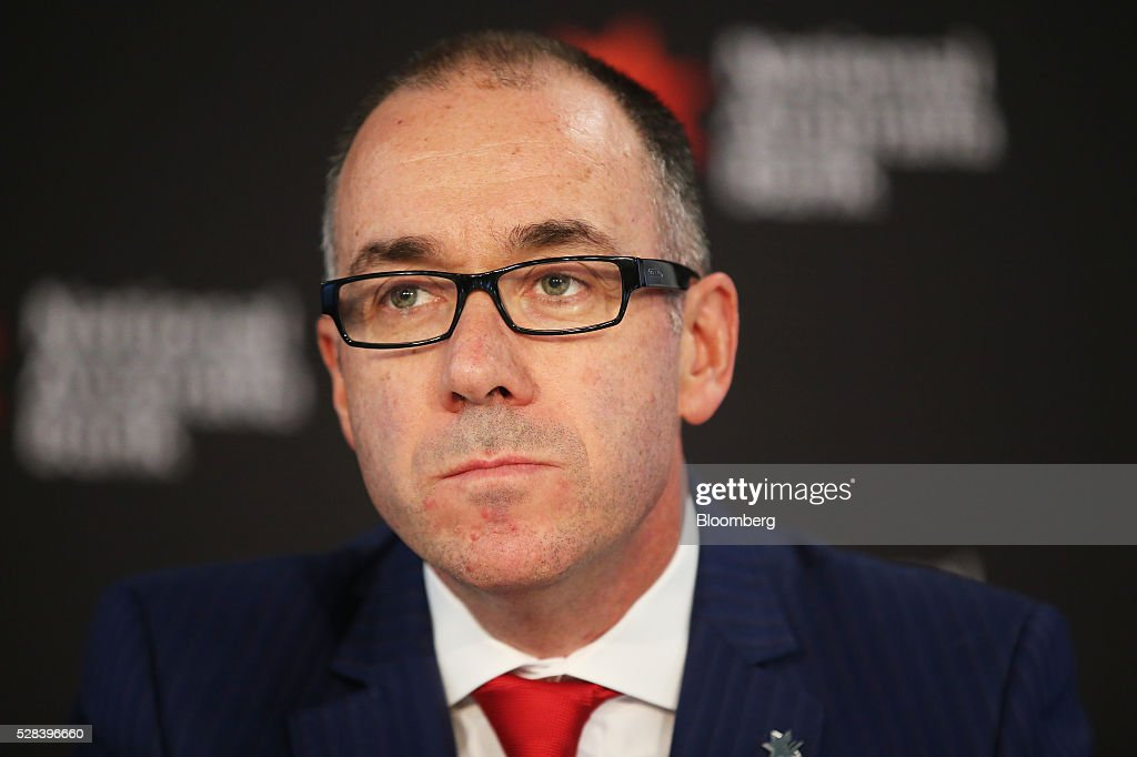 Andrew Thorburn, chief executive officer of National Australia Bank Ltd. (NAB), listens during a news conference in Sydney, Australia, on Thursday, May 5, 2016. National Australia posted a 6.5 percent increase in first-half cash profit as it bucked a trend among Australia's largest lenders by decreasing bad-debt charges and as margins improved for the first time since 2011. Photographer: Brendon Thorne/Bloomberg via Getty Images