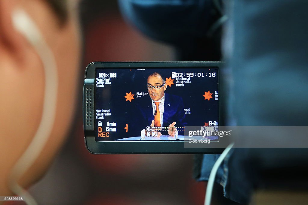 Andrew Thorburn, chief executive officer of National Australia Bank Ltd. (NAB), is seen on a camera viewfinder as he speaks during a news conference in Sydney, Australia, on Thursday, May 5, 2016. National Australia posted a 6.5 percent increase in first-half cash profit as it bucked a trend among Australia's largest lenders by decreasing bad-debt charges and as margins improved for the first time since 2011. Photographer: Brendon Thorne/Bloomberg via Getty Images