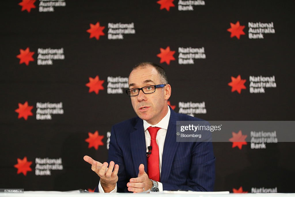 Andrew Thorburn, chief executive officer of National Australia Bank Ltd. (NAB), speaks during a news conference in Sydney, Australia, on Thursday, May 5, 2016. National Australia posted a 6.5 percent increase in first-half cash profit as it bucked a trend among Australia's largest lenders by decreasing bad-debt charges and as margins improved for the first time since 2011. Photographer: Brendon Thorne/Bloomberg via Getty Images