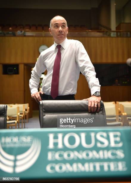 Andrew Thorburn chief executive officer of National Australia Bank Ltd stands ahead of a hearing before the House of Representatives Standing...