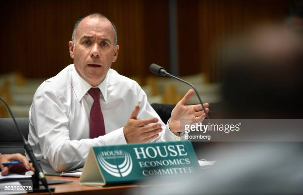 Andrew Thorburn chief executive officer of National Australia Bank Ltd speaks during a hearing before the House of Representatives Standing Committee...