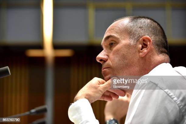 Andrew Thorburn chief executive officer of National Australia Bank Ltd attends a hearing before the House of Representatives Standing Committee on...