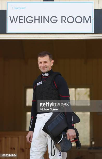 Andrew Thornton holds his saddle outside the weighing room ahead of his ride on Kentford Myth Thornton is returning to riding after a ten month...