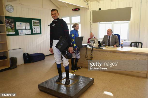 Andrew Thornton on the scales in the weighing room ahead of his ride on Kentford Myth Thornton is returning to riding after a ten month injury lay...