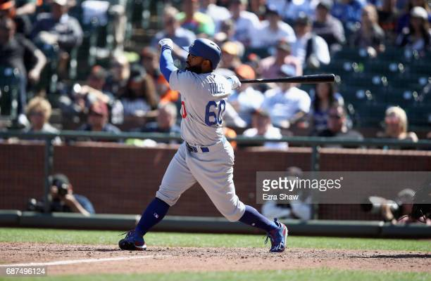Andrew Toles of the Los Angeles Dodgers bats against the San Francisco Giants at ATT Park on April 27 2017 in San Francisco California