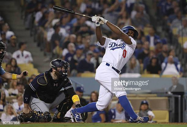 Andrew Toles of the Los Angeles Dodgers bats during the eighth inning of their MLB game against the San Diego Padres at Dodger Stadium on September 2...