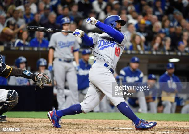 Andrew Toles of the Los Angeles Dodgers plays during a baseball game against the San Diego Padres at PETCO Park on May 5 2017 in San Diego California