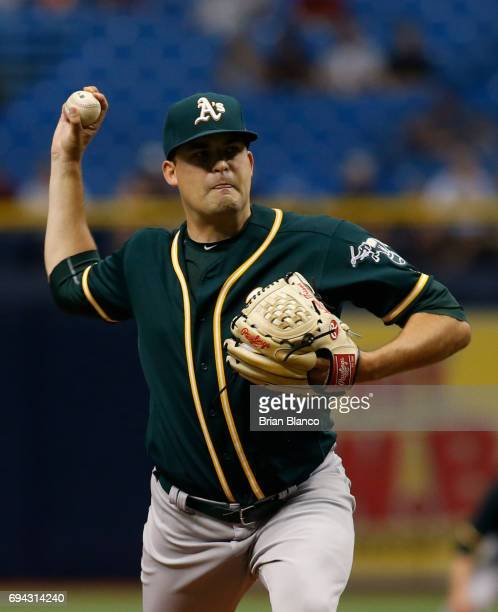 Andrew Triggs of the Oakland Athletics pitches during the first inning of a game against the Tampa Bay Rays on June 9 2017 at Tropicana Field in St...