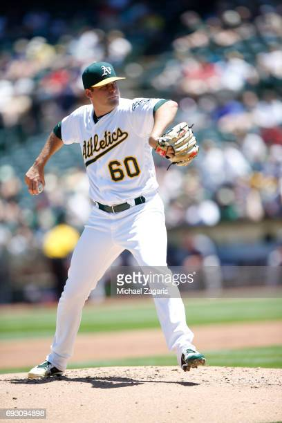 Andrew Triggs of the Oakland Athletics pitches during the game against the Boston Red Sox at the Oakland Alameda Coliseum on May 21 2017 in Oakland...