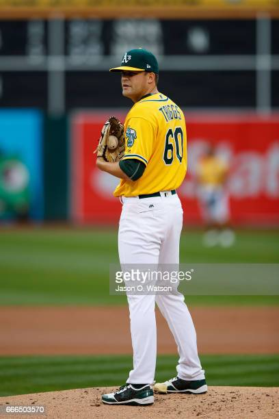 Andrew Triggs of the Oakland Athletics stands on the pitchers mound against the Los Angeles Angels of Anaheim during the first inning at the Oakland...