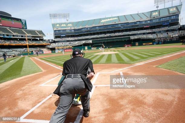 Andrew Triggs of the Oakland Athletics warms up on the mound prior to the game against the Los Angeles Angels of Anaheim at the Oakland Alameda...
