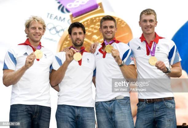 Andrew TriggsHodge Tom James Peter Reed and Alex Gregory show off their Gold Medals won in the Rowing Men Four at BT London Live a series of outdoor...