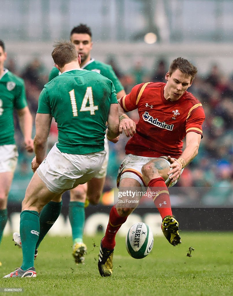 <a gi-track='captionPersonalityLinkClicked' href=/galleries/search?phrase=Andrew+Trimble&family=editorial&specificpeople=544137 ng-click='$event.stopPropagation()'>Andrew Trimble</a> of Ireland and <a gi-track='captionPersonalityLinkClicked' href=/galleries/search?phrase=Liam+Williams&family=editorial&specificpeople=7852399 ng-click='$event.stopPropagation()'>Liam Williams</a> of Wales battle for the ball during the RBS Six Nations match between Ireland and Wales at the Aviva Stadium on February 7, 2016 in Dublin, Ireland.