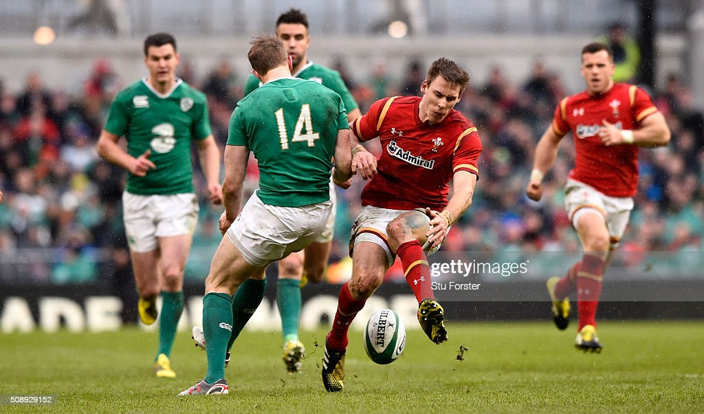 Andrew Trimble of Ireland (l) and <a gi-track='captionPersonalityLinkClicked' href=/galleries/search?phrase=Liam+Williams&family=editorial&specificpeople=7852399 ng-click='$event.stopPropagation()'>Liam Williams</a> of Wales battle for the ball during the RBS Six Nations match between Ireland and Wales at the Aviva Stadium at Aviva Stadium on February 7, 2016 in Dublin, Ireland.