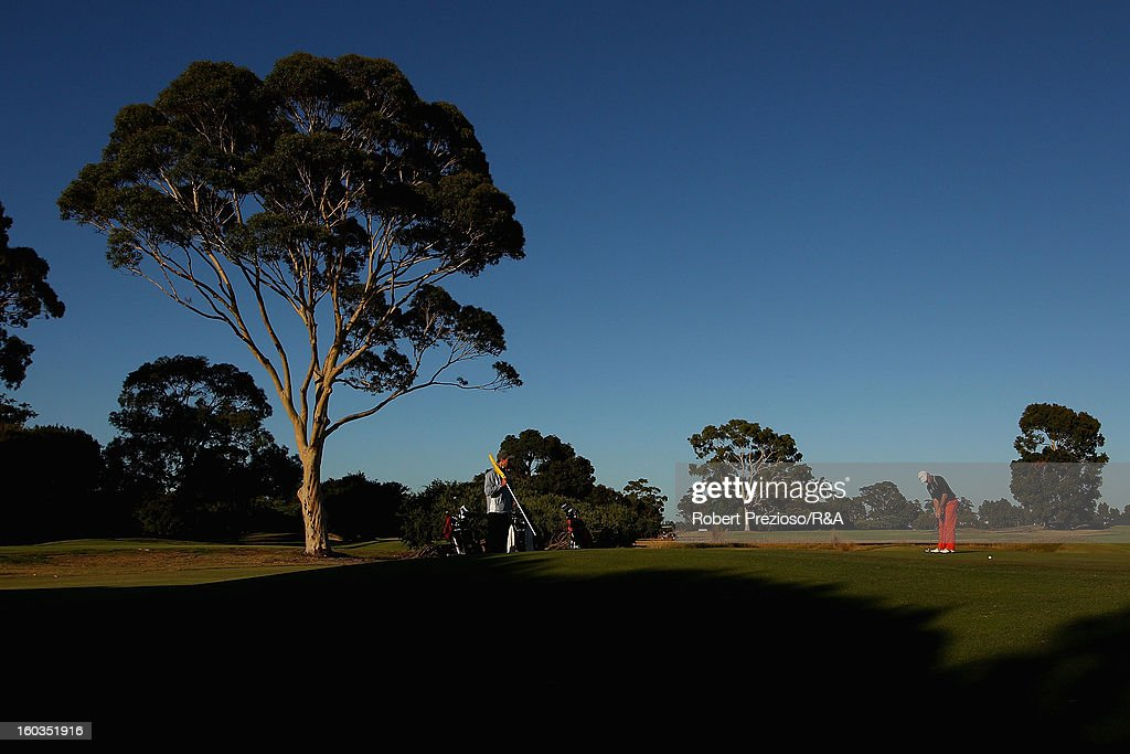 Andrew Tschudin of Australia plays a shot on the 1st hole during day two of the British Open International Final Qualifying Australasia at Kingston Heath Golf Club on January 30, 2013 in Melbourne, Australia.
