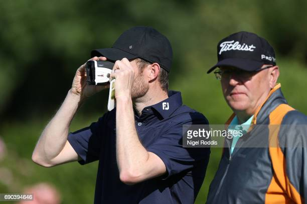 Andrew Turner of Knaresborough Golf club checks the distance during the PGA Professional Championship North East Qualifier at Fulford Golf Club on...